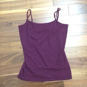 Ann Taylor Wine-Colored Textured Camisole